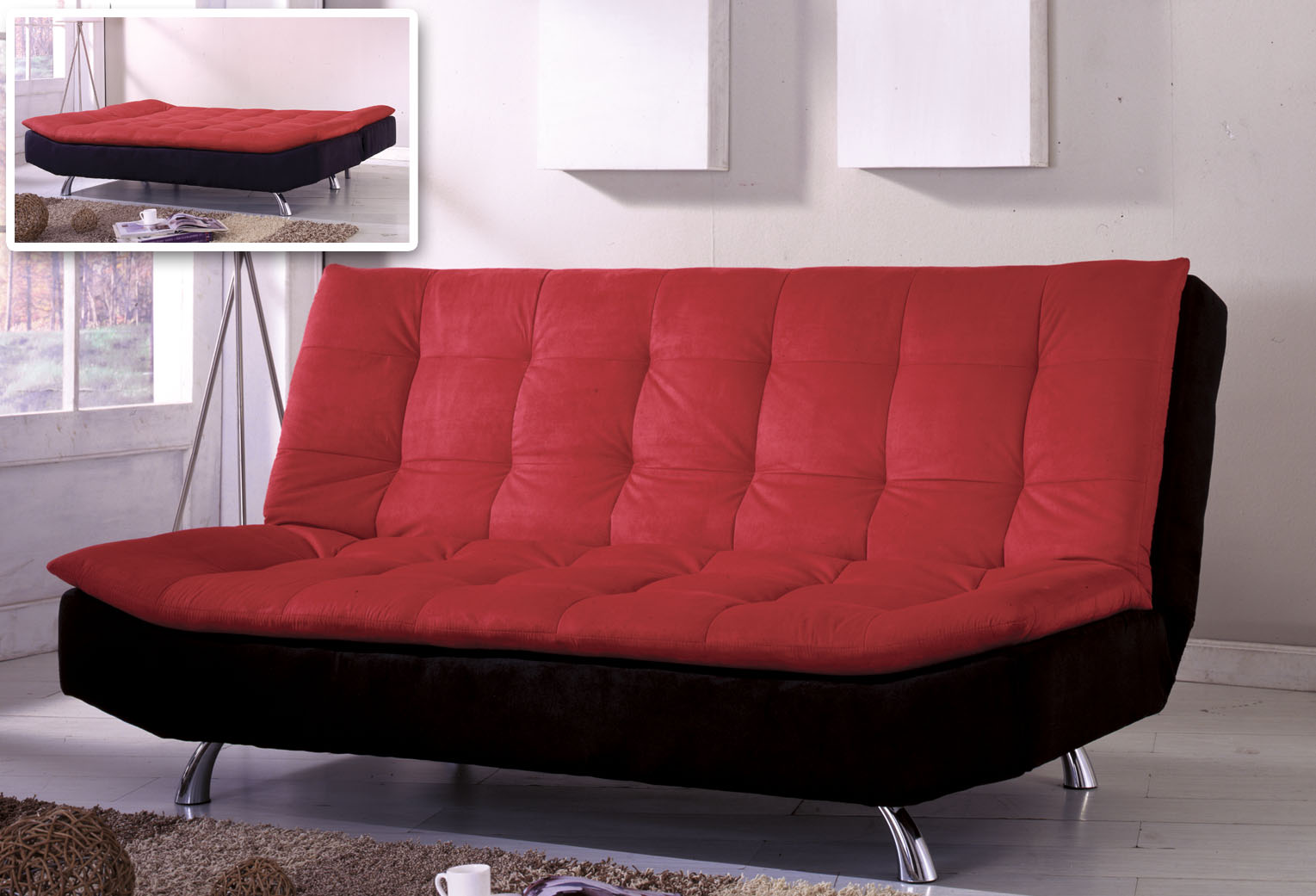 stylish red couches that turn into bed with tuft pattern and black accent  aside tripod lamp