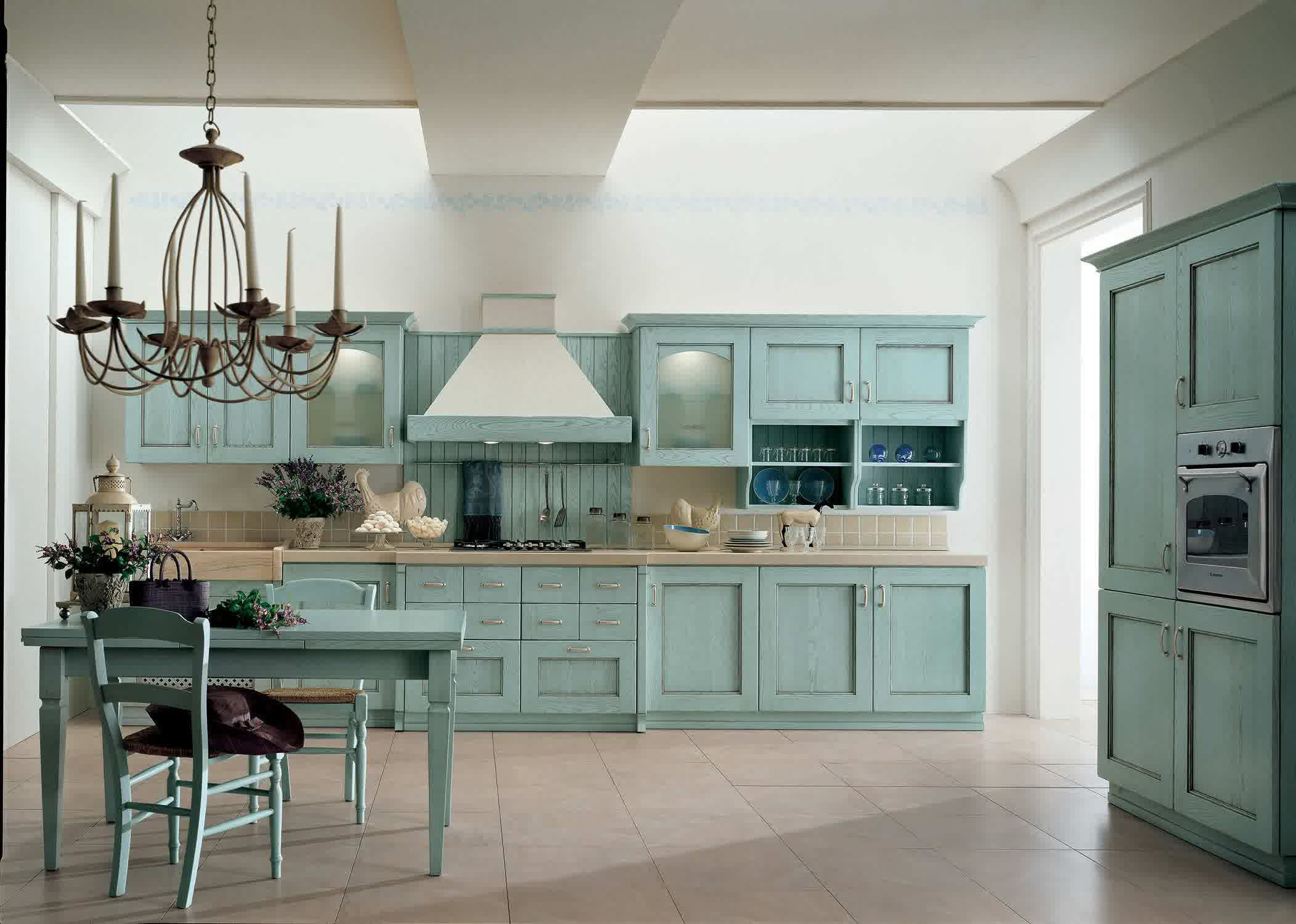 Teal Base And Upper Kitchen Cabinets Cream Ceramic Tiles Teal Dining  Furniture Classic Pendant Chandelier Over Part 19