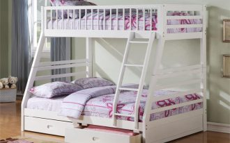 teenage bedroom idea with loft beds for teenage girl with drawer underneath plus rug on wooden laminate floor and window with blue curtain panel