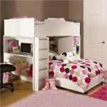 Teenage Bedroom With Loft Beds For Teenage Girl In Wooden Bed Frame And Polkadot Bedding And Soft Ru Gplus Desk With Black Swivel Chair