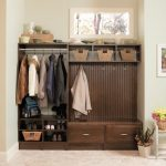 Traditional Wooden Mudroom Storage Units With Shoe Storage And Closet Storage And Hook With Baskets And White Flooring