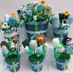 ultimate baby boy shower centerpieces for tables in flower shape with socks and baby clothes
