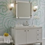 Unique And Elegant Bathroom Washable Paint For Wall With Wall Mirror And Wall Lamps And White Vanity And White Rug