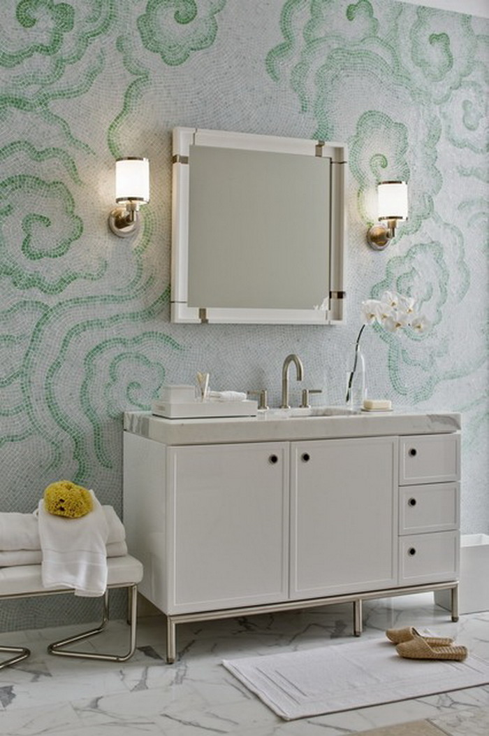 Unique And Elegant Bathroom Washable Paint For Wall With Wall Mirror And  Wall Lamps And White
