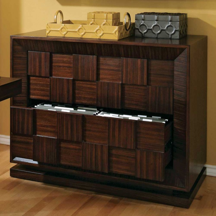unique designed woode file cabinet from ikea with cane pattern and ethnic art with hardwood floor