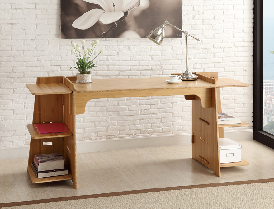 unique open plan office design with beige wooden modular desk components design with side storage beneath brick office furniture
