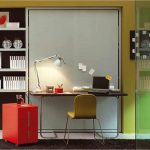 urban murphy bed chicago that turns into desk design with yellow chair and red file cabinet and white table lamp with green wall and mounted wall racks