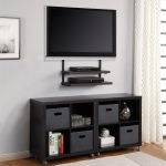 wall mount TV set with additional shelves underneath for organizing media players a black TV desk with cabinets and open shelves