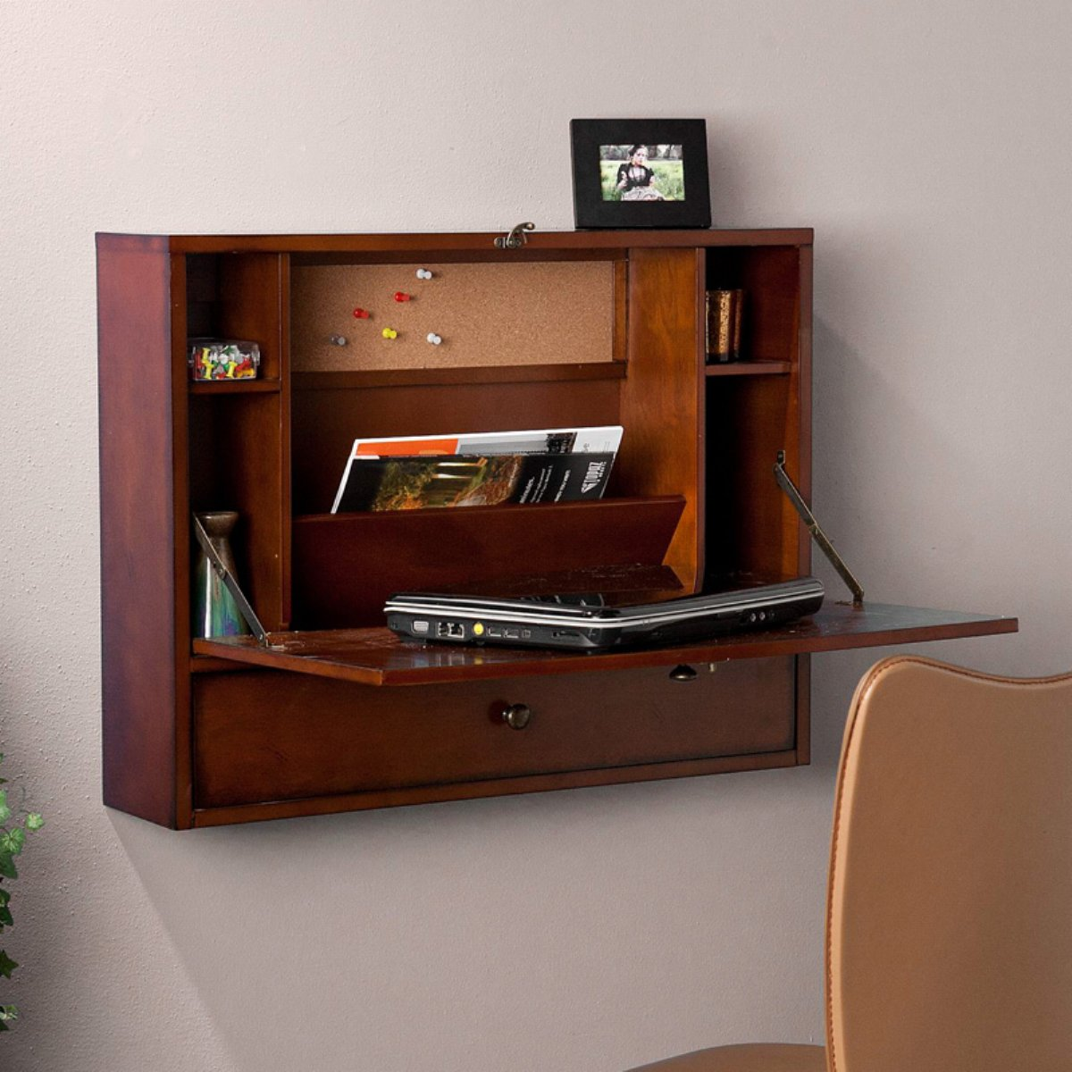 Beau Wall Mounted Writing Desks For Small Spaces With Storage Feat Comfy Chair  And Photo Frame