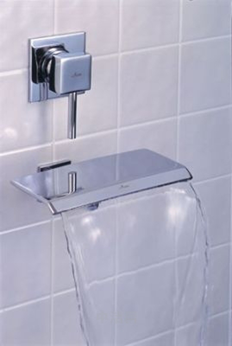 waterfall faucet for tub in stainless steel decorated on white tile for wall for impressive bathroom