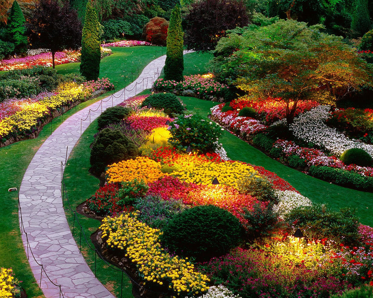 wonderful landscaping ideas for front of house and backyard with cool walkways and colorful flower plants and trees