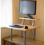 wonderful yellow standing desk design for casual need with three tops and computer set and pyramid style