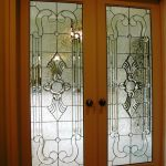 A Pair Of Door Panels With Zero Color Stained Glass Panel