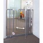 A safety gate for kids with two swing door fetaure