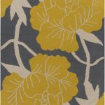 An area rug idea with beautiful yellow flower and white branches patterns