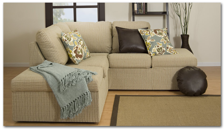Armless Sectional Sofa In Light Brown Color Dark Brown Throw Pillows And  Floral Patterned Throw Pillows