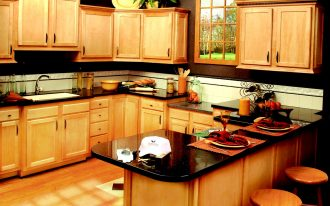 Beautiful Absolute Black granite countertops for kitchen full red wooden kitchen furniture decorative flowers red wooden floor