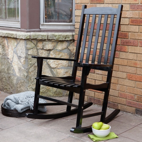 Etonnant Black Stain Wood Rocking Chair Designed In Mission Style
