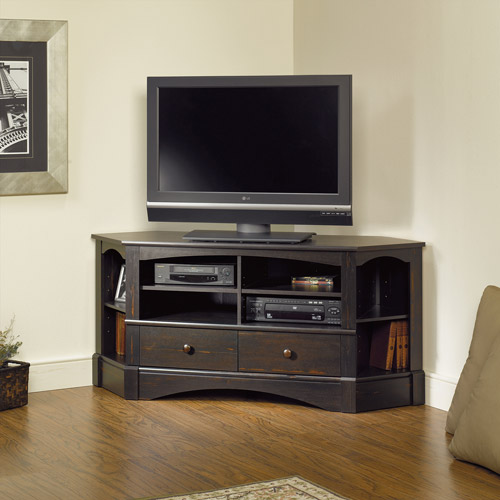 Black Stained Wood TV Desk With Storage As The Corner Unit Entertainment  Center