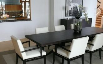 Black stained wood narrow dining table  simple white dining chairs