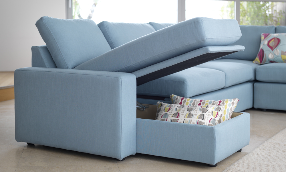 Blue sofa bed idea with under storage colorful throw pillows - Sofa Bed Clearance Ideas HomesFeed
