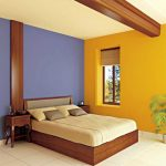 Bright yellow wall paint blue wall paint light yellow ceiling wood loft bed furniture with cream bed linen two console tables a corner decorative plant white ceramic tiles flooring