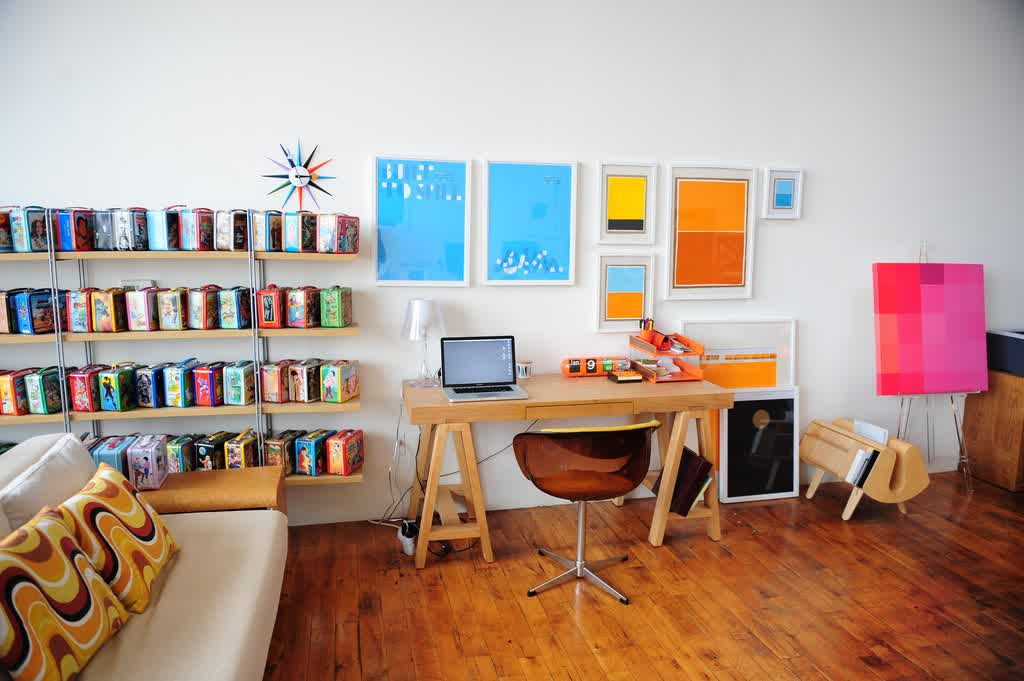 Cheerful And Colorful Office Decorating Idea Wall Shelving Unit With  Colorful Boxes A Sofa With Beautiful