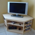 Corner Lightweight Wood TV Desk With Base Shelves For Storing DVD Collections And Audio System