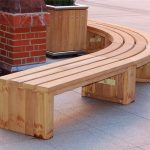 Curved wood bench for outdoor