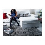 Deep grey shag rug idea by IKEA a white sectional sofa with throw pillows