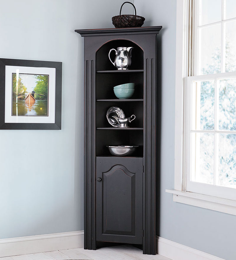 Deep Grey Stained Wood Corner Hutch Storage In Classic Style