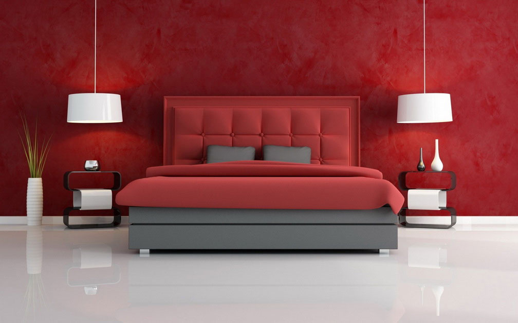 deep red wall paint lighter red bedcover lighter red headboard grey platform bed furniture grey pillows - Bedrooms Colors Design