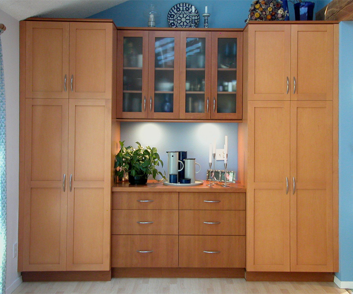 Dining Room Storage Cabinet Idea Made Of Solid Wood With Drawer System Lighting Under Cabinets