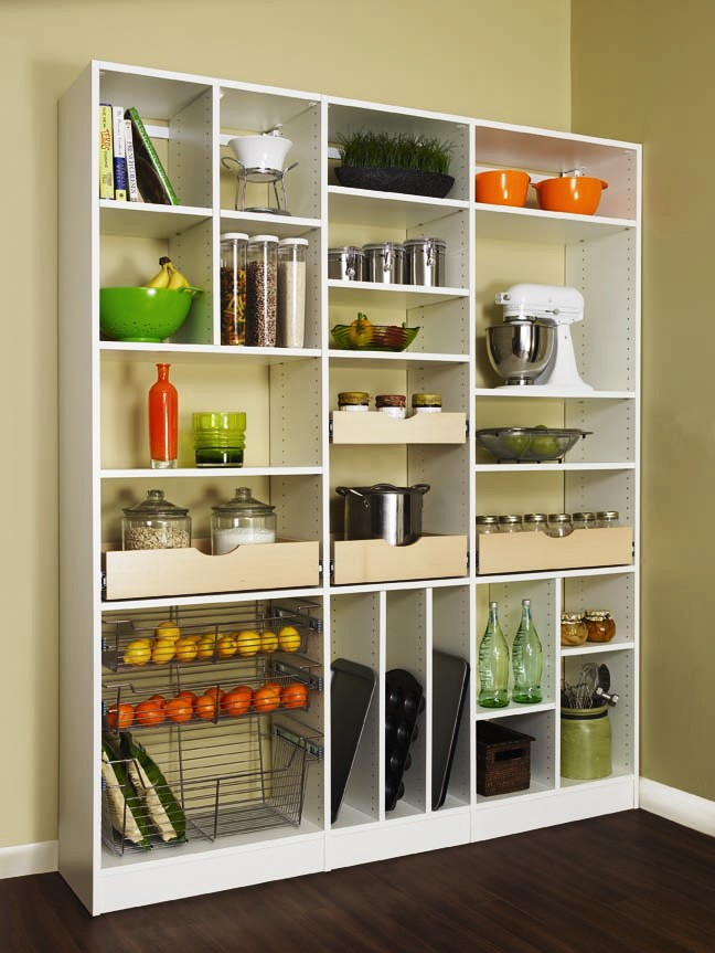 charming How To Arrange Kitchen Appliances #7: Doorless cabinet system for storing kitchen supplies