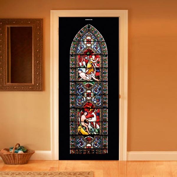 Elegant And Luxurious Black Interior Door With Beautiful Stained Glass Decoration