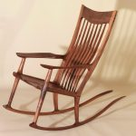 Elegant wooden rocking chair in mission style