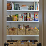 Food supplies closet storage idea with rattan boxes as the additional storage