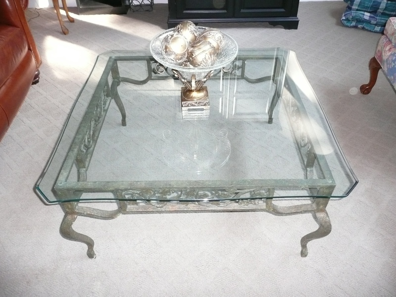 Frameless Glass Top Coffee Table With Iron Legs Designed In Classic Style