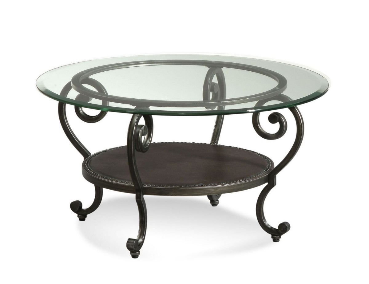 Frameless Round Glass Top Table With Black Coated Metal Legs In Classic  Style