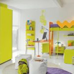 Fresh green beds orange desk and white chair floating bookshelves green and orange clothes closet design cool chairs in white round purple bedroom rug