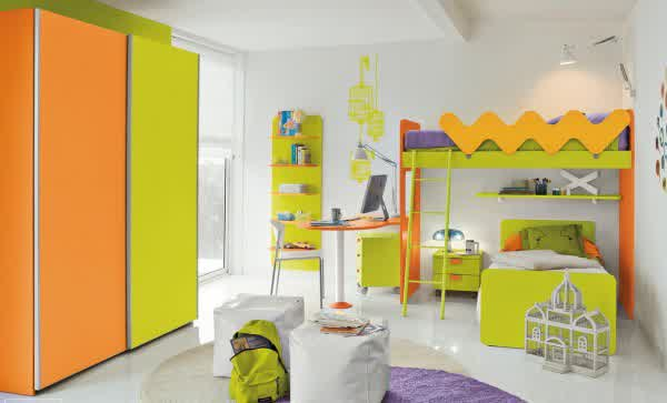 Fresh Green Beds Orange Desk And White Chair Floating Bookshelves Green And Orange Clothes Closet Design