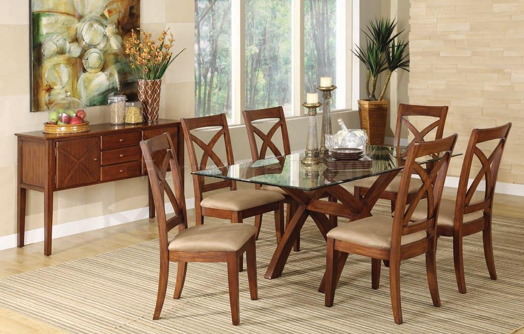Glass top table and wooden chairs with light brown cushion light brown rug with strips patterns a dining room storage idea made of wooden an abstract painting a corner decorative plant