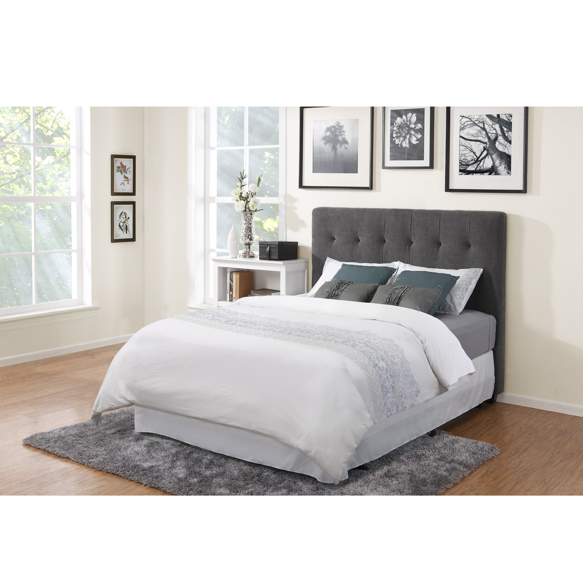 Grey headboard idea for modern bedroom grey shag bedroom rug wood floor idea white bedside table