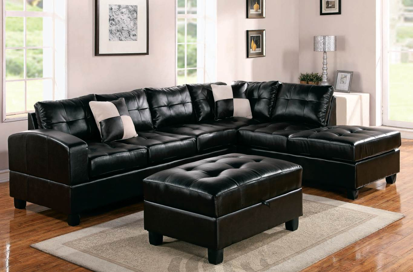 High Class Black Leather Coated Sectional Sofa With Black Leather Ottoman  Smooth And Soft Grey Area