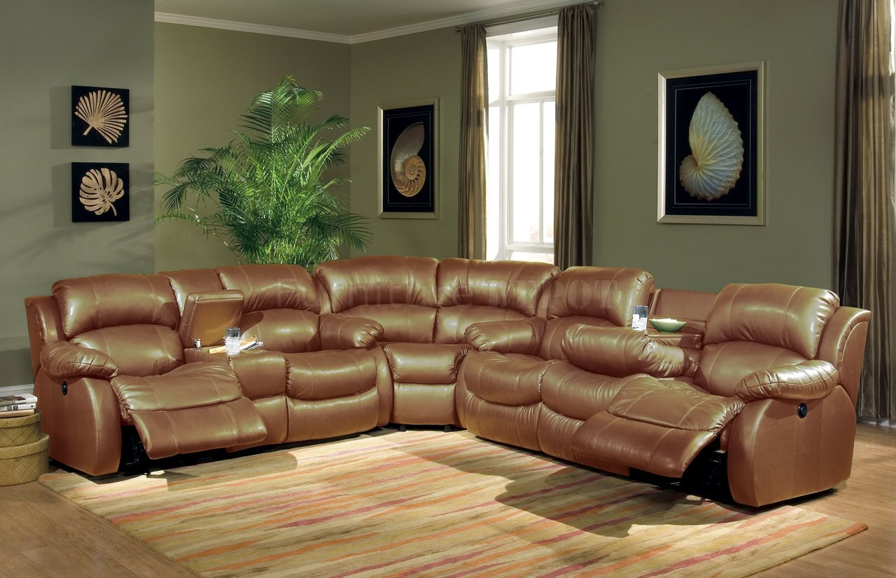 Beau Home Theater Style Sectional Sofa With Brown Leather Cover Several Painting  Arts As Wall Decorations Modern