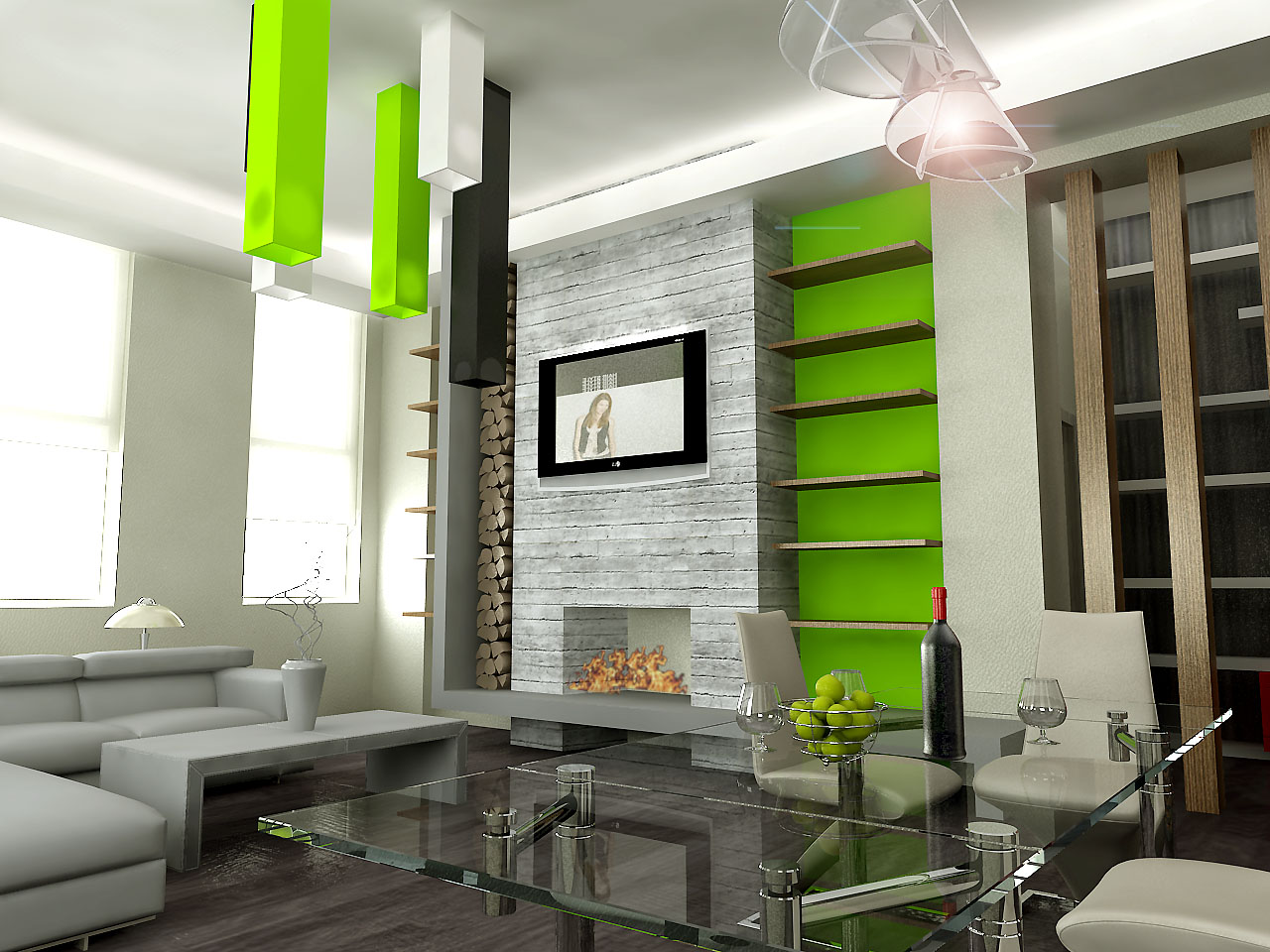 Interior-Design-for-Dummies-contrast-in-interior-design-shocking-green-wall-and-ceiling-accents-modern-living-room.jpg