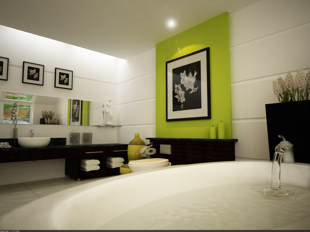 Interior Design for Dummies focal point in interior design stoothing water  bath statement lime green wall