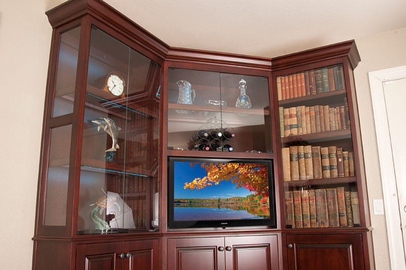 Large TV Cabinet System With Transparent Glass Door Cabinets For Displaying  Book Collections And Decorative Pieces