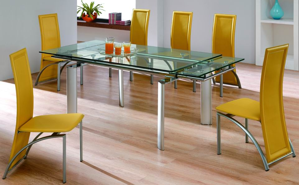 Large And Narrow Glass Top Dining Table With Metal Legs Modern Yellow Dining  Chairs In Unique