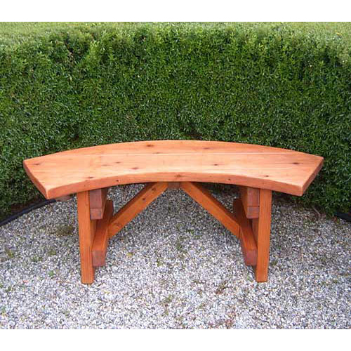 Curved wooden bench for garden and patio homesfeed Yard bench